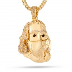 King Ice -  14K Gold Masked Benjamin Franklin Necklace