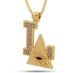 King Ice - 14K Gold CZ All Seeing Eye Necklace