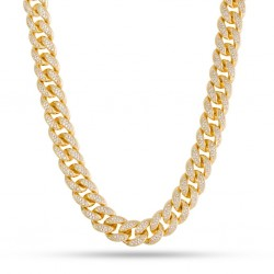 King Ice - 12 mm, 14k Gold CZ Miami Cuban Chain
