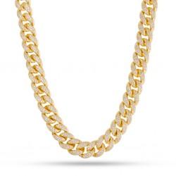 King Ice - 12 mm, 14k Gold CZ Miami Cuban Chain
