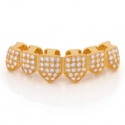 King Ice - 14K Gold CZ Studded Teeth Grillz Bottom