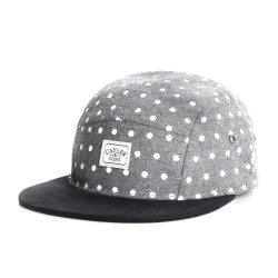 Cayler And Sons - Dotted Panel Cap - Grey Polka / Black Suede