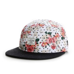 Cayler And Sons - Paris 5 Panel Cap - Off White Rose / Black Suede