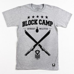 Block Limited - Block Camp Tee - Heather Grey/Black