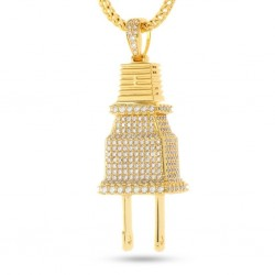 "King Ice - Fox ""Empire"" x KING ICE - CZ Plug Necklace (Gold)"