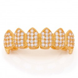 King Ice - 14K Gold CZ Dracula Teeth Grillz Bottom