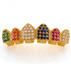 King Ice - 14K Gold  Multi-Colored Grillz Top
