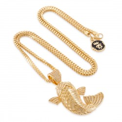 King Ice - 14K Gold Yamabuki Ogon Koi Fish Necklace