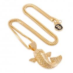 King Ice - 14K Gold Yamabuki Ogon Koi Fish Necklace
